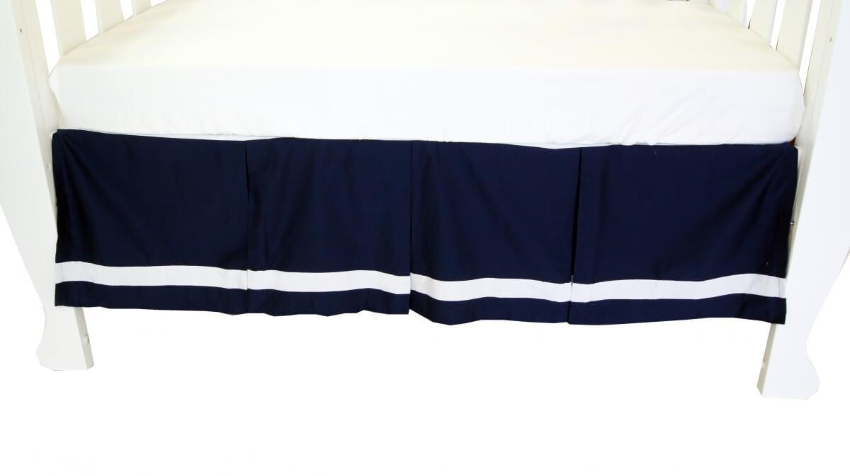 amani bebe breezy blue pleated crib skirt navy white