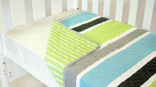 Amani Bebe Summer Stripe Quilt Lime Side A
