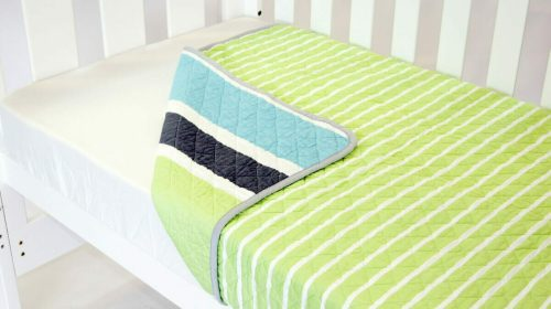 Amani Bebe Summer Stripe Quilt Lime Side B
