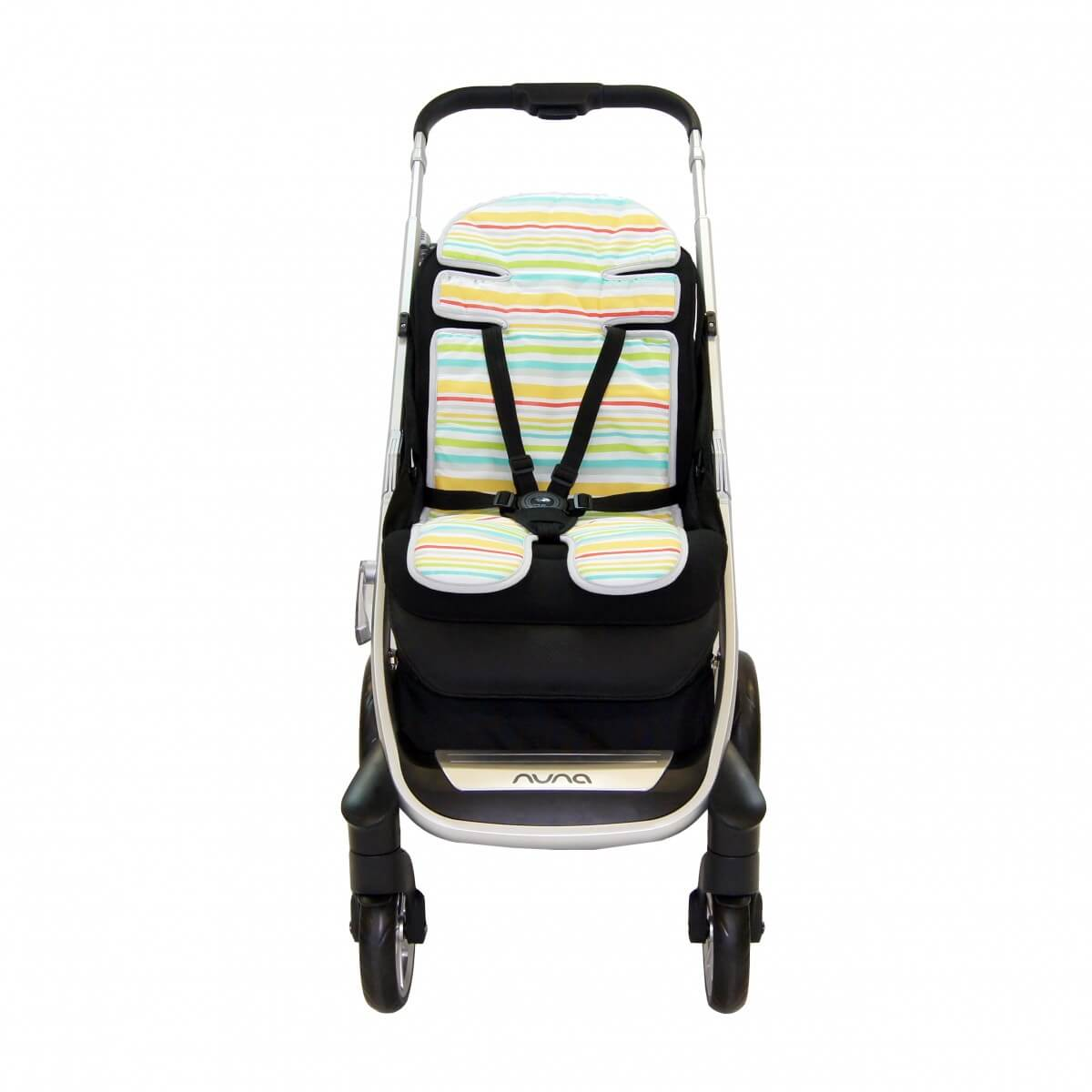 Amani Bebe Up in The Sky Stroller Liner Blue Stripe Side A