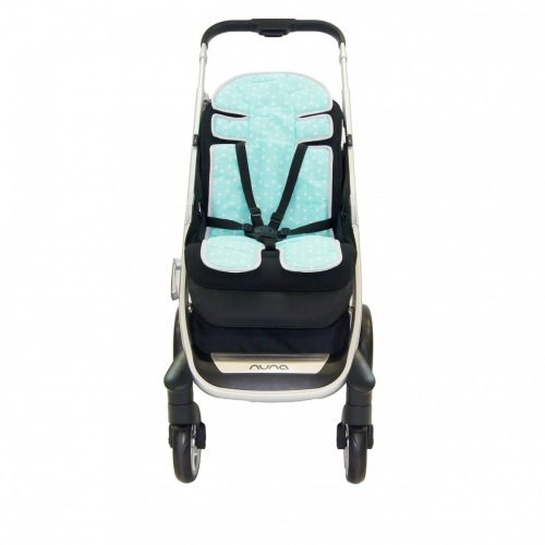 Amani Bebe Up in The Sky Stroller Liner Blue Stripe Side B
