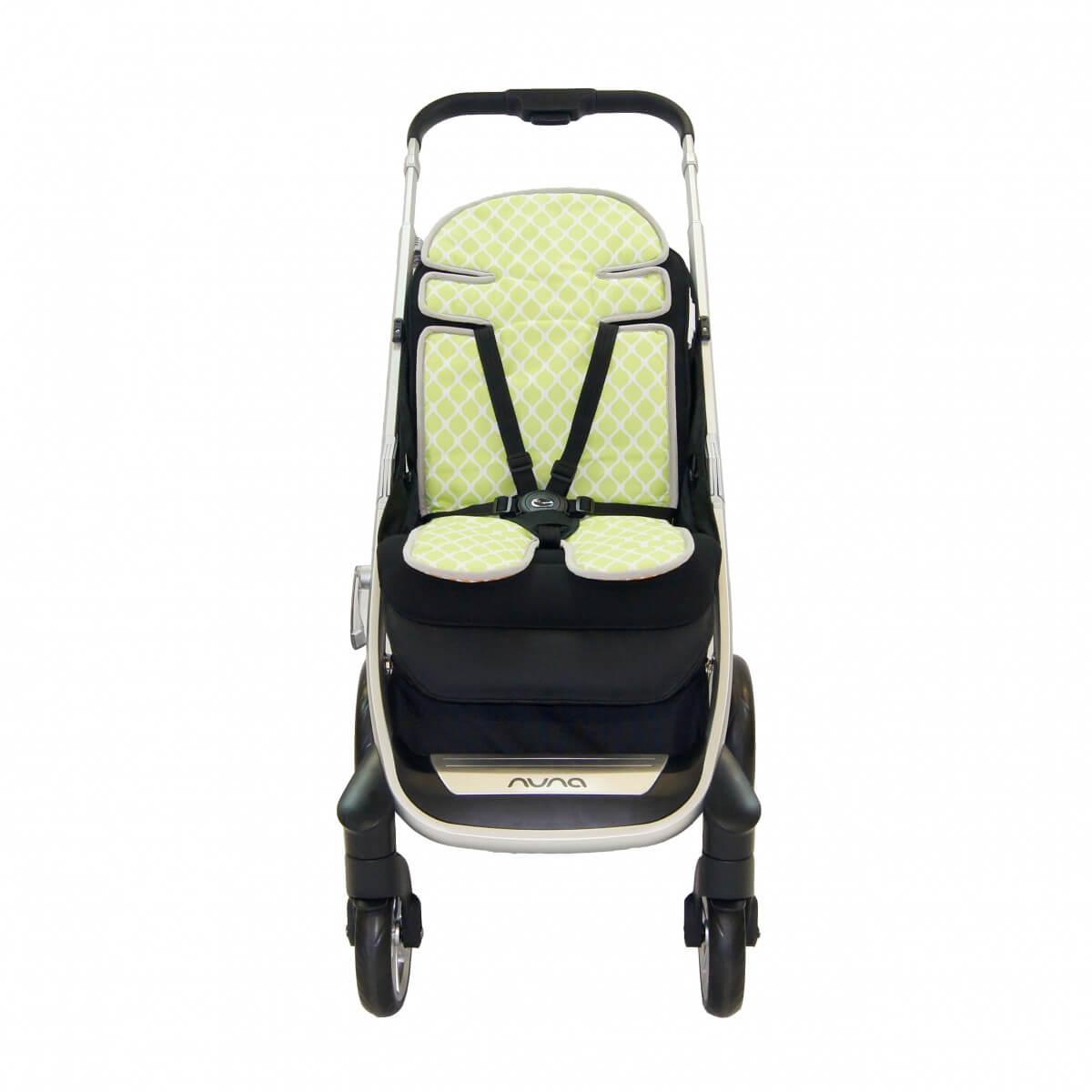 Amani Bebe Up in The Sky Stroller Liner Orange Lime Side A