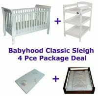 Babyhood Classic Sleigh Cot 4 Pce Package Deal