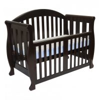 Babyhood Grow with Me - Sleigh 6 in 1 Cot - English Oak Bassinet