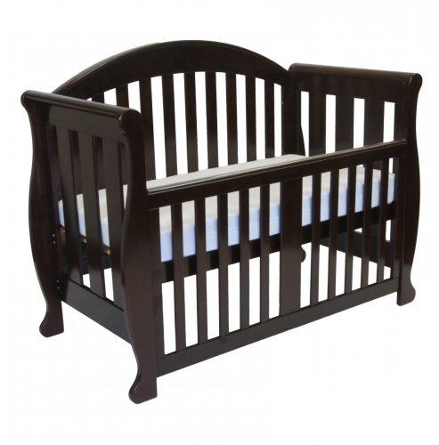 Babyhood Grow with Me - Sleigh 6 in 1 Cot - English Oak Bassinet