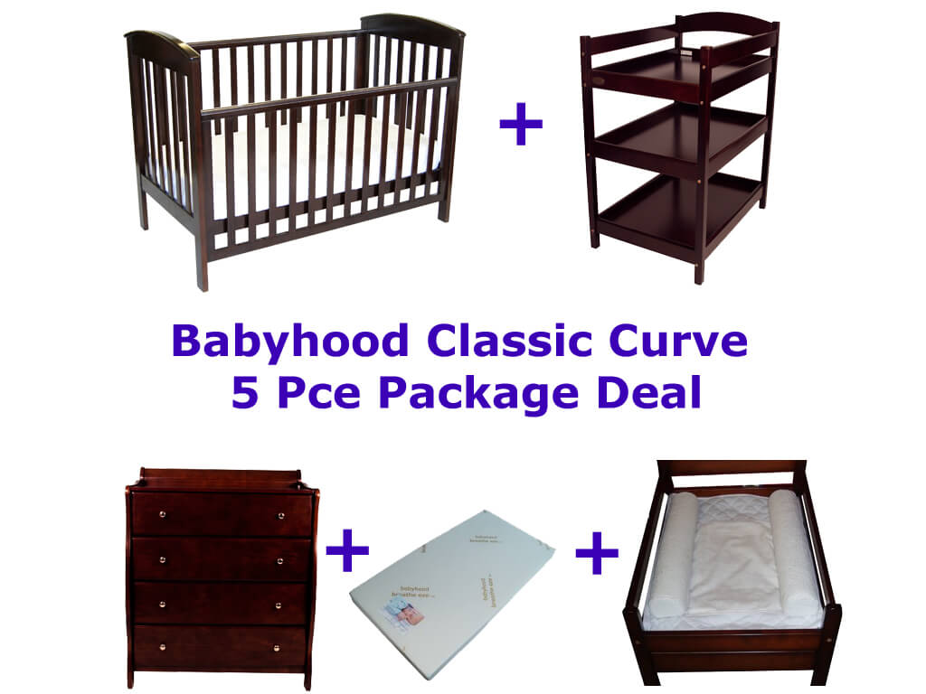 Babyhood Classic Curve Cot 5 Pce Package Deal