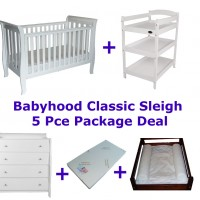 Babyhood Classic Sleigh Cot 5 Pce Package Deal