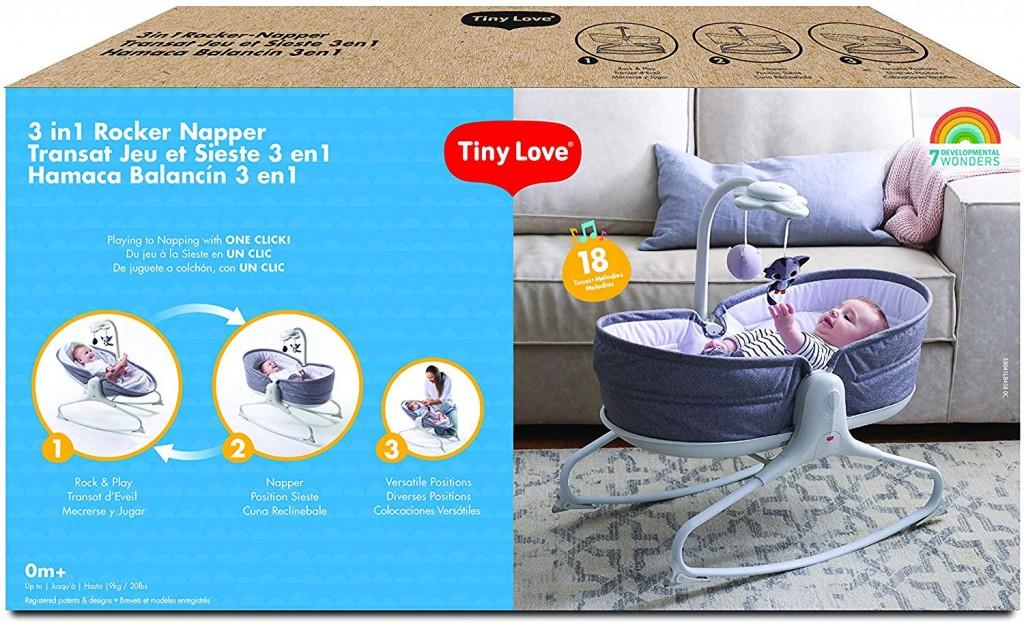 Tiny Love 3 In 1 Rocker Napper Heather Grey Packaging