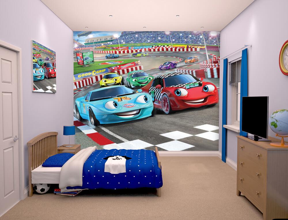 Walltastic Car Racers Bedroom Scene