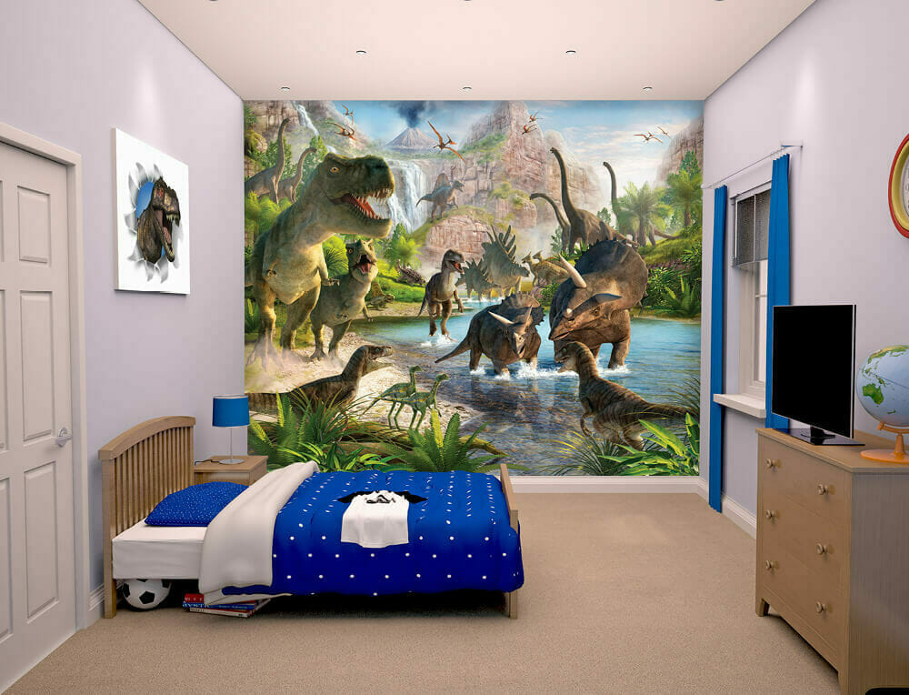 Walltastic dinosaur land kids wall mural bubs n grubs for Dinosaur mural ideas