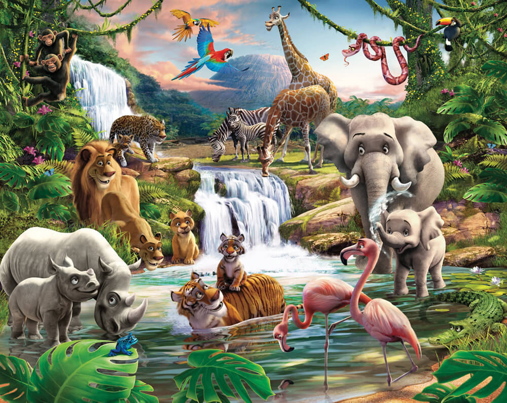 walltastic jungle adventure kids wall mural bubs n grubs. Black Bedroom Furniture Sets. Home Design Ideas