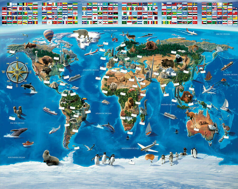 map of the world kids wall mural walltastic map of the world. Black Bedroom Furniture Sets. Home Design Ideas