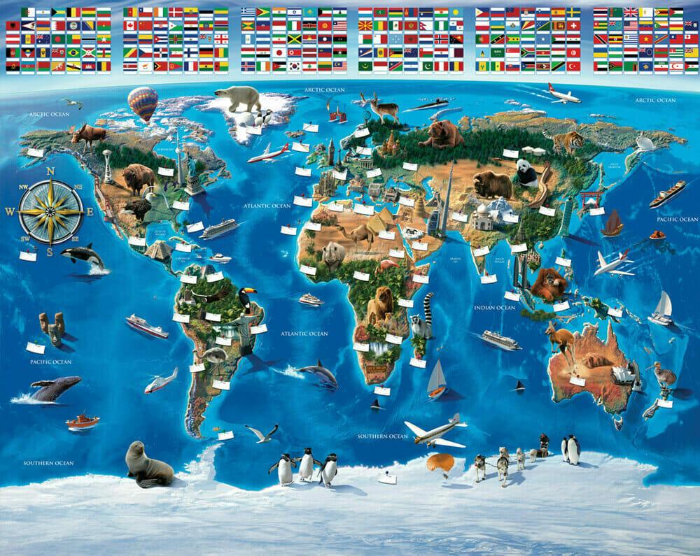 Walltastic Map Of the World Mural