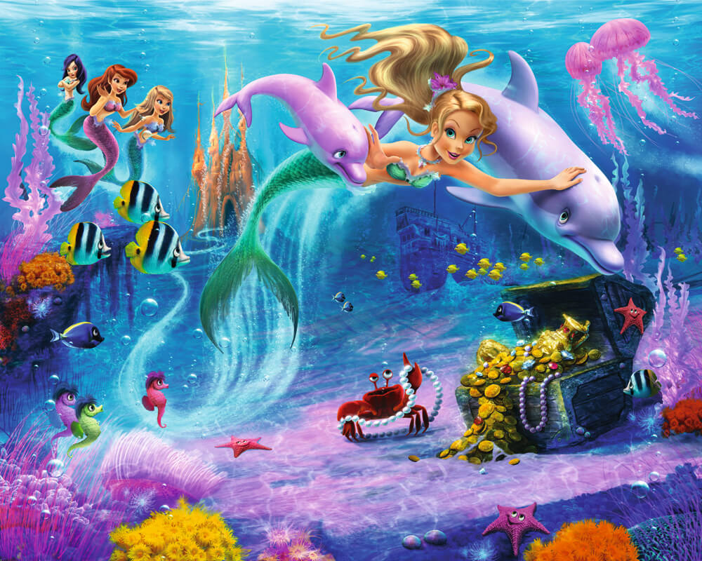 Walltastic mermaids kids wall mural bubs n grubs for Child mural wallpaper
