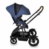Babyhood Doppio Marina Single Backwards Seat Extendedhood Blue