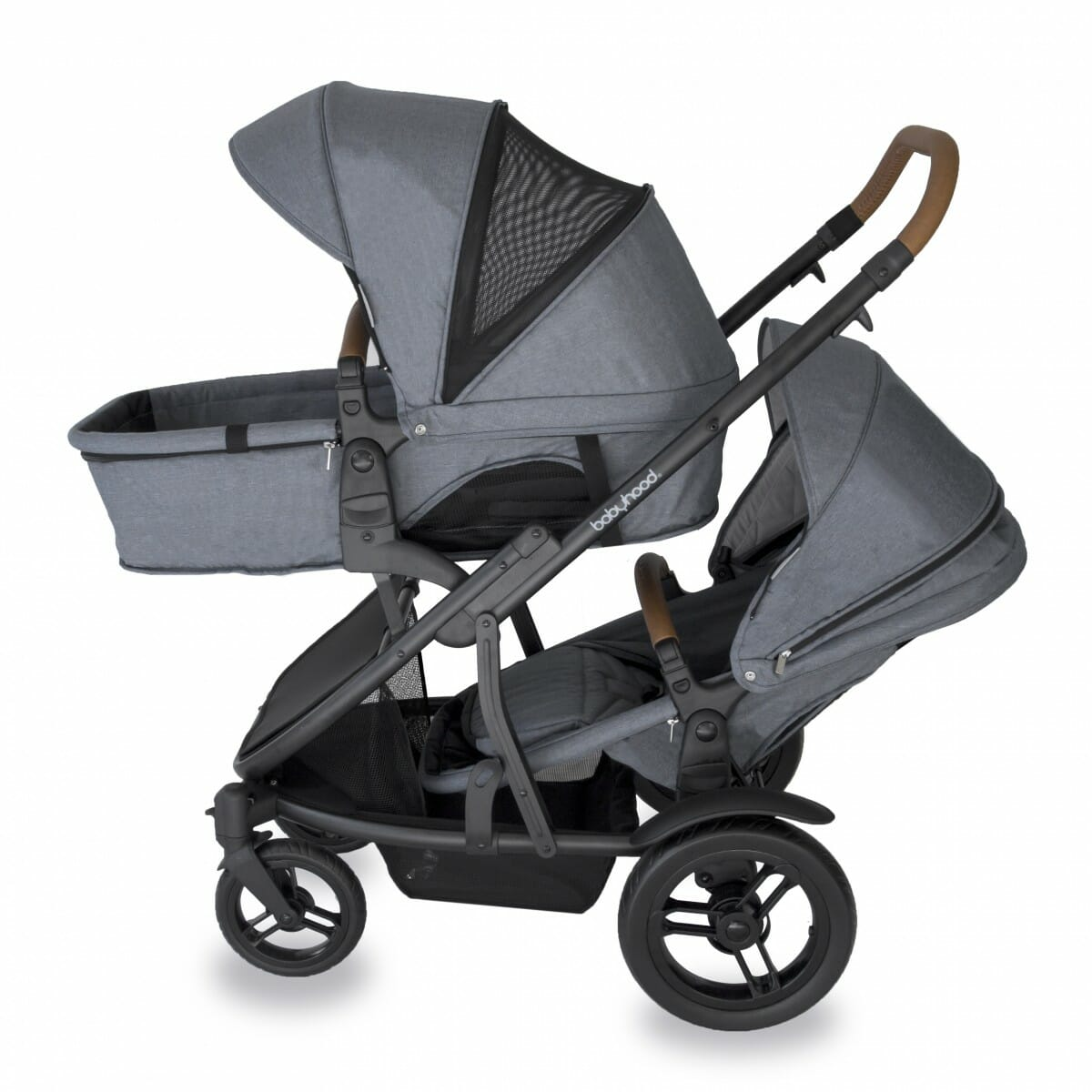 Babyhood Doppio Nero Double Bassinet Forward Seat Grey