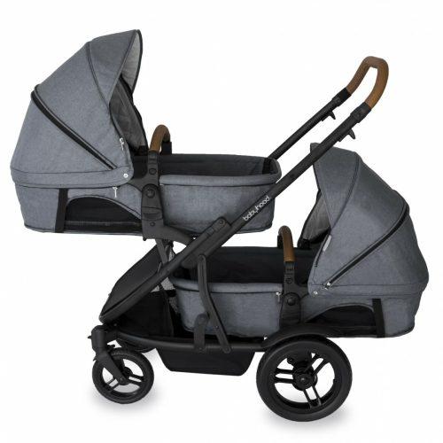 Babyhood Doppio Nero Double Bassinet Grey