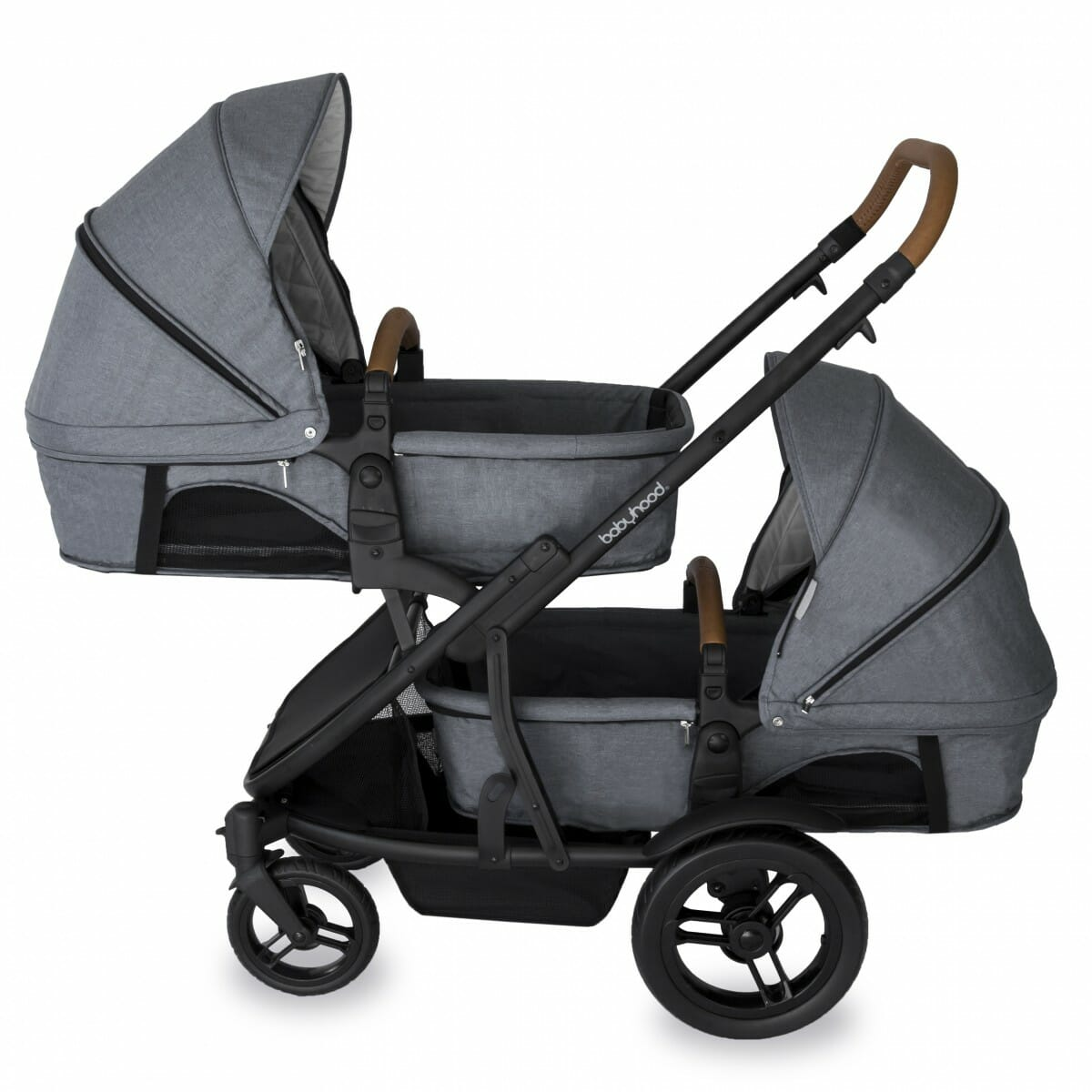 Babyhood Doppio Nero Double Bassinet Grey