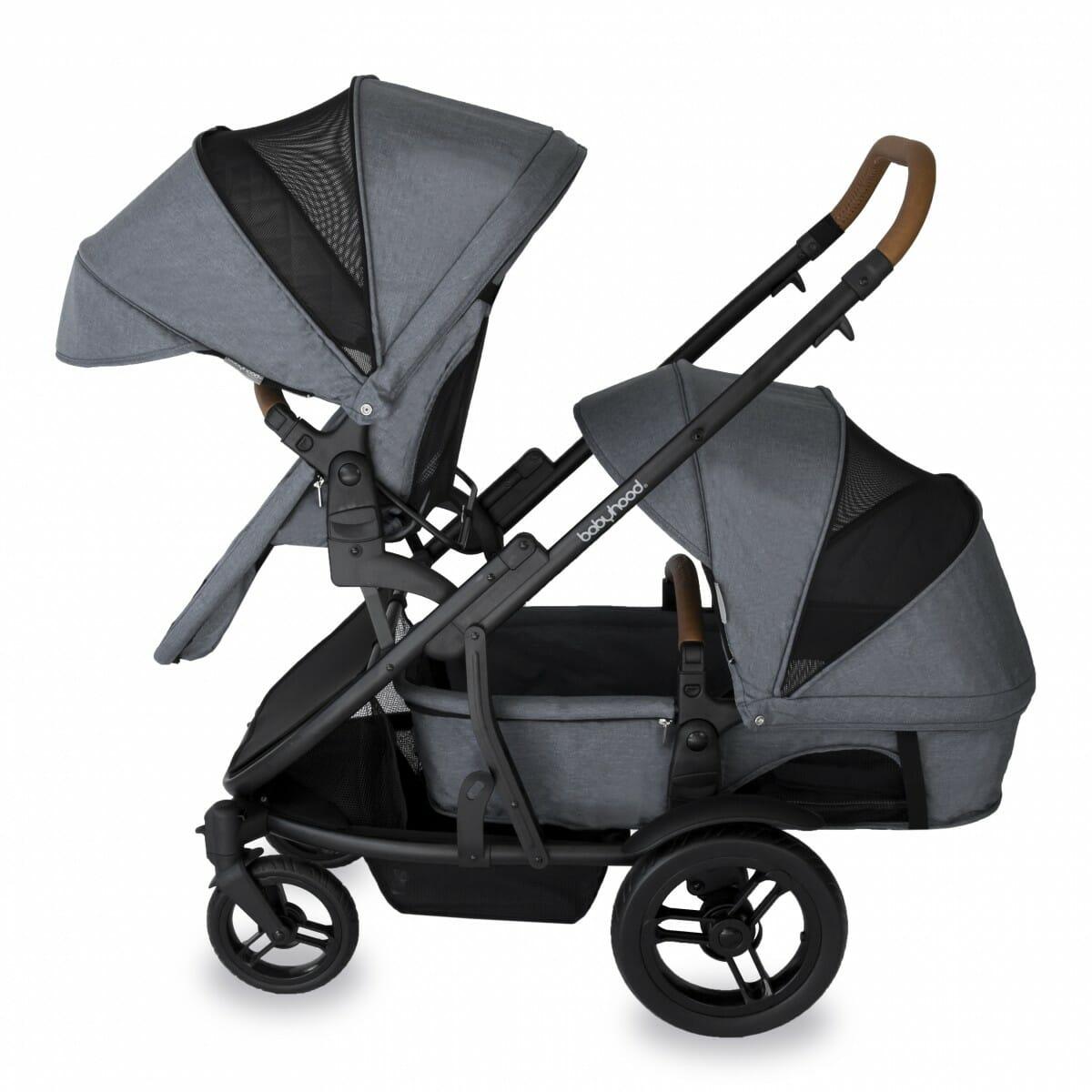 Babyhood Doppio Nero Double Forward Seat Bassinet Grey