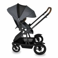 Babyhood Doppio Nero Single Backwards Seat Extendedhood Grey