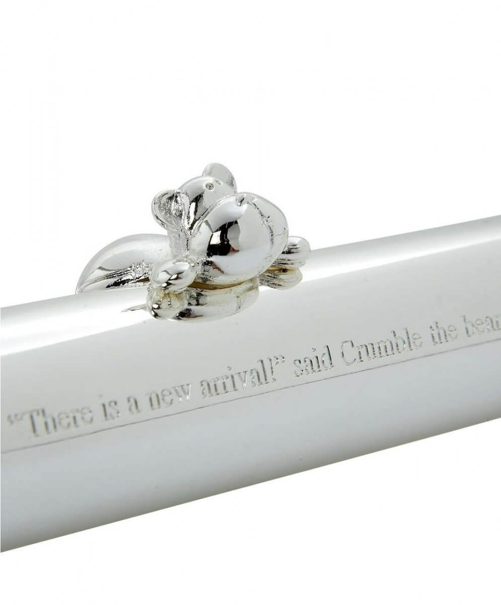 Mamas and Papas Silver Plated Birth Certificate Holder Closeup