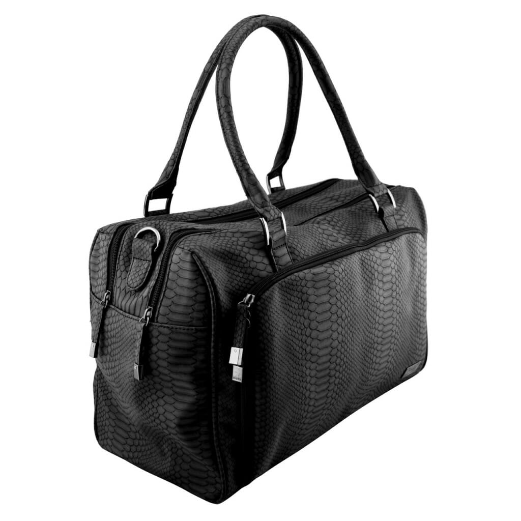 Isoki Double Zip Satchel Black Mumba Angle