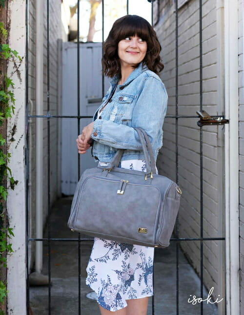 Isoki Double Zip Satchel Stone Lifestyle 2