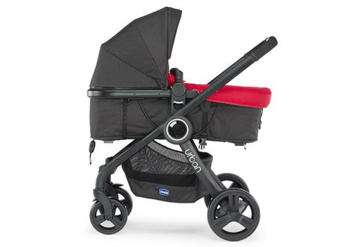 Chicco Urban Plus Red with Bassinet Side View