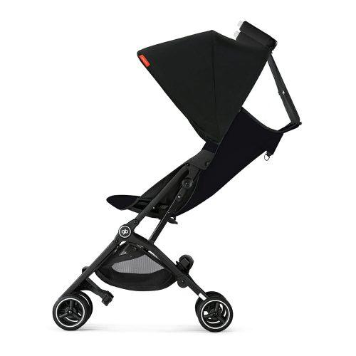 Gb Pockit+ Stroller – Satin Black Side Full Recline