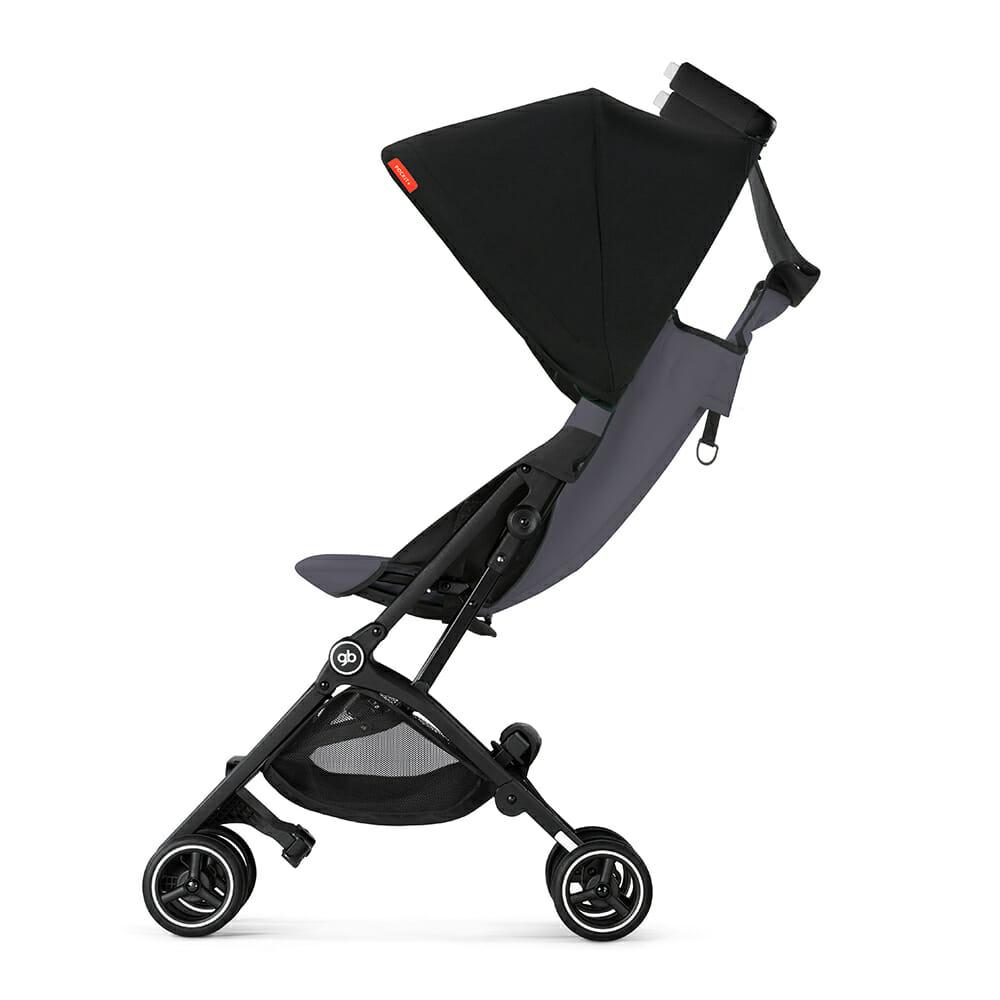Gb Pockit+ Stroller – Silver Fox Grey Side Recline