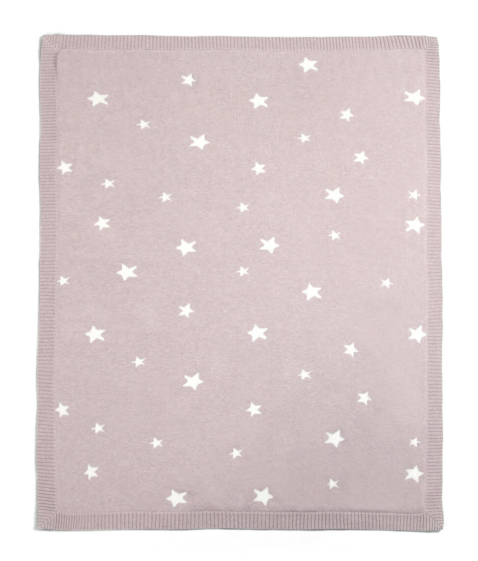 Mamas and Papas Millie and Boris Knitted Blanket Rose Star Side A