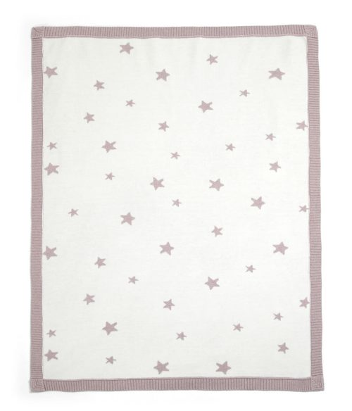 Mamas and Papas Millie and Boris Knitted Blanket Rose Star Side B