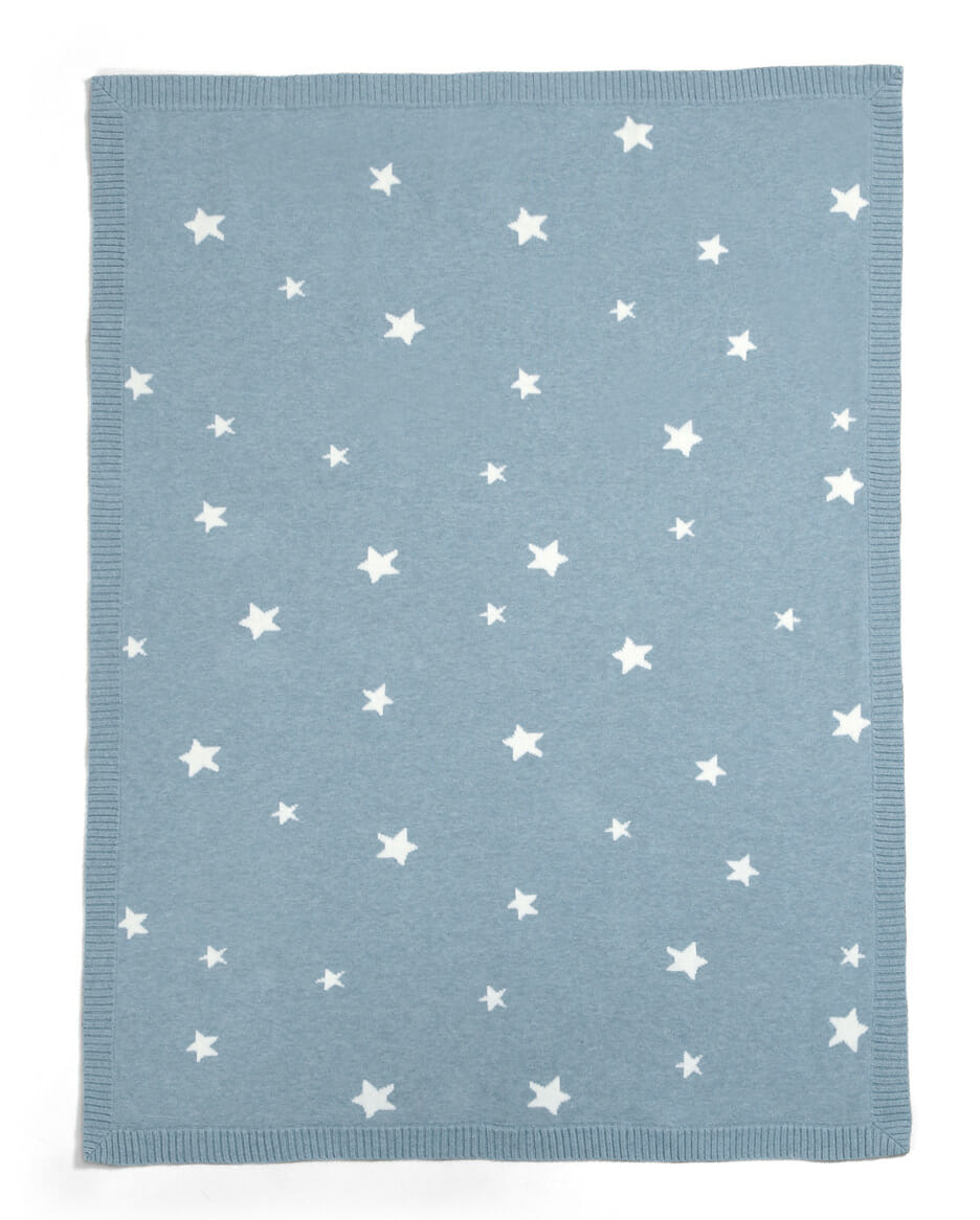 Mamas and Papas Millie and Boris Knitted Blanket Teal Star Side A