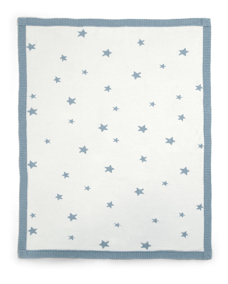 Mamas and Papas Millie and Boris Knitted Blanket Teal Star Side B