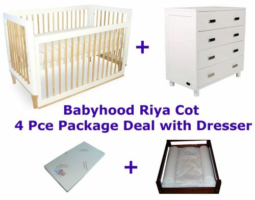 Babyhood Riya Cot Package Deal 4 Pce with Dresser