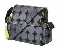 OiOi Grey Dot Messenger with Green lining Nappy Bag
