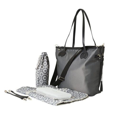 OiOi Grey Microcheck Tote Nappy Bag