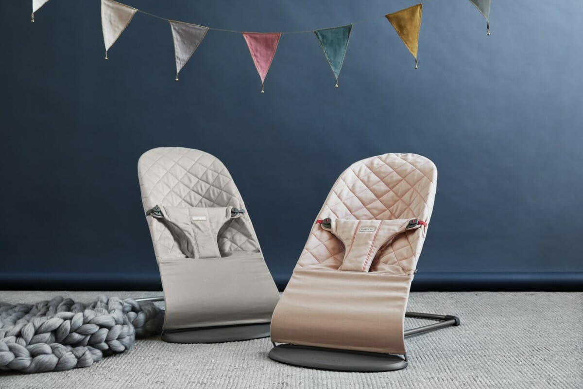 Bouncer Bliss - Sand Grey & Old Rose, Cotton