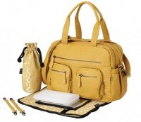 OiOi Mustard Faux Buffalo Carry All Nappy Bag Kit