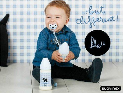 Suavinex Rose & Bleu Wide Neck Bottle Bleu