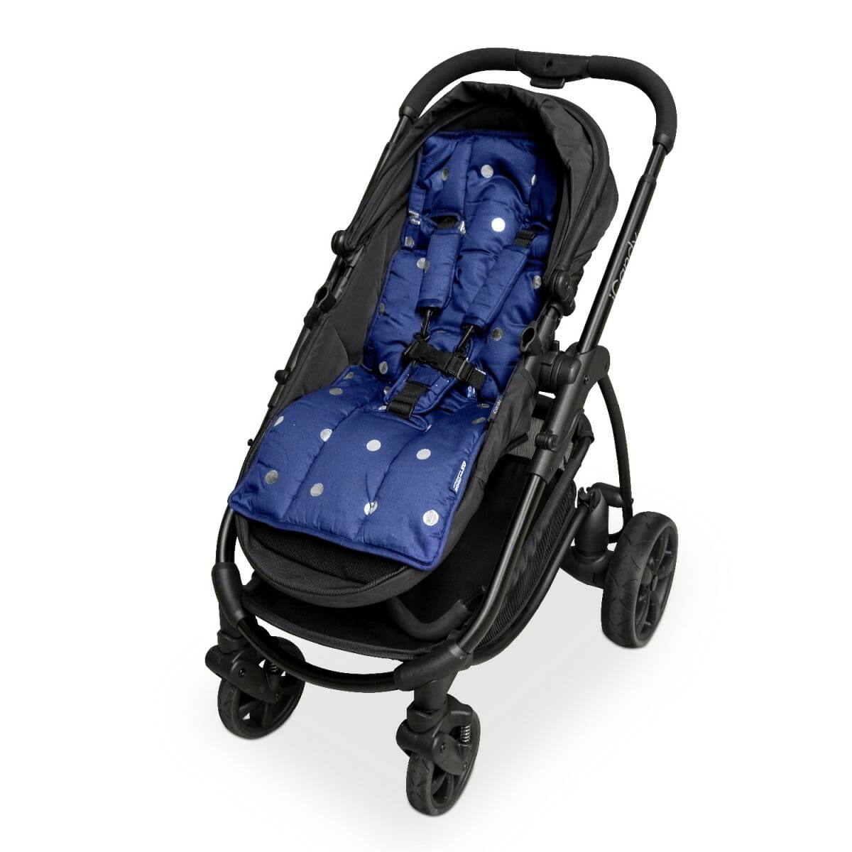 Outlook Get Foiled Pram Liner Navy w Silver Spots harness White-Background