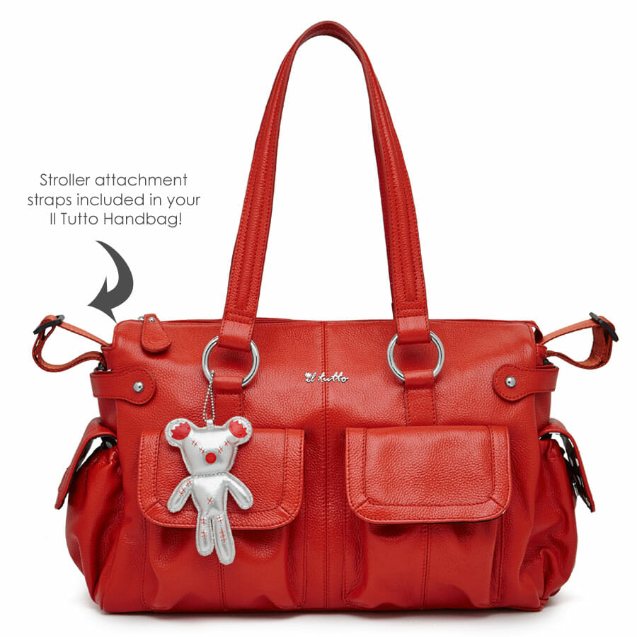 Il Tutto Mia Leather Tote Baby Bag Front with Stroller Clips