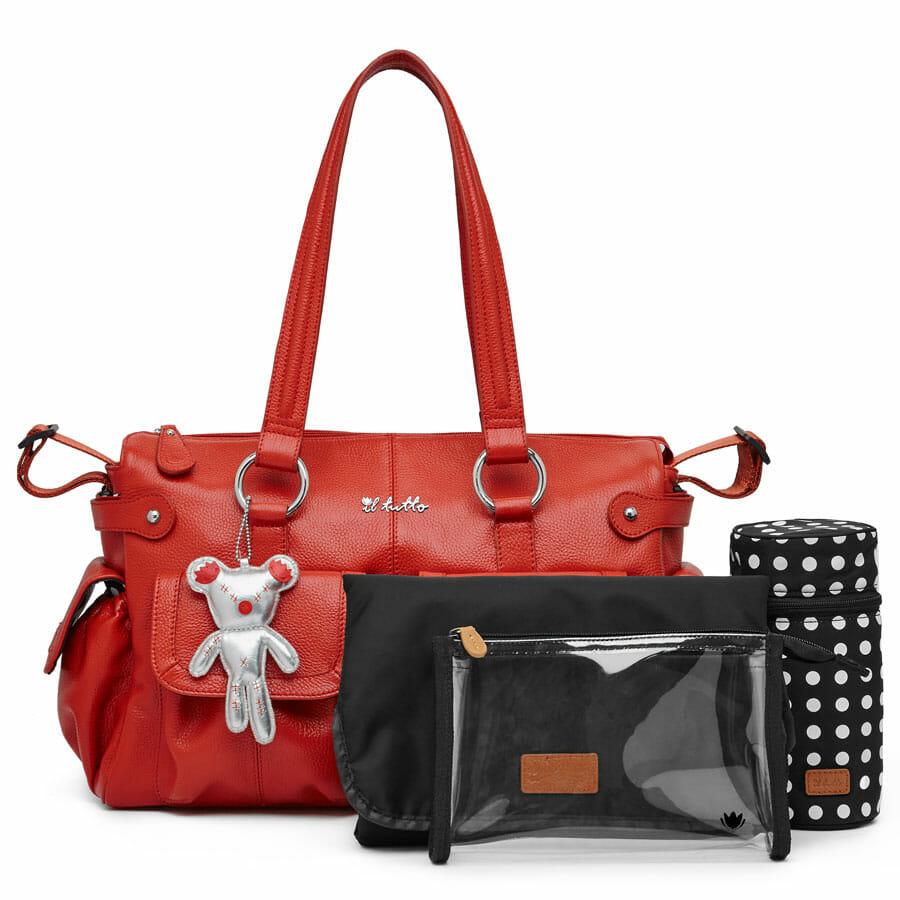 Il Tutto Mia Leather Tote Baby Bag with accessory