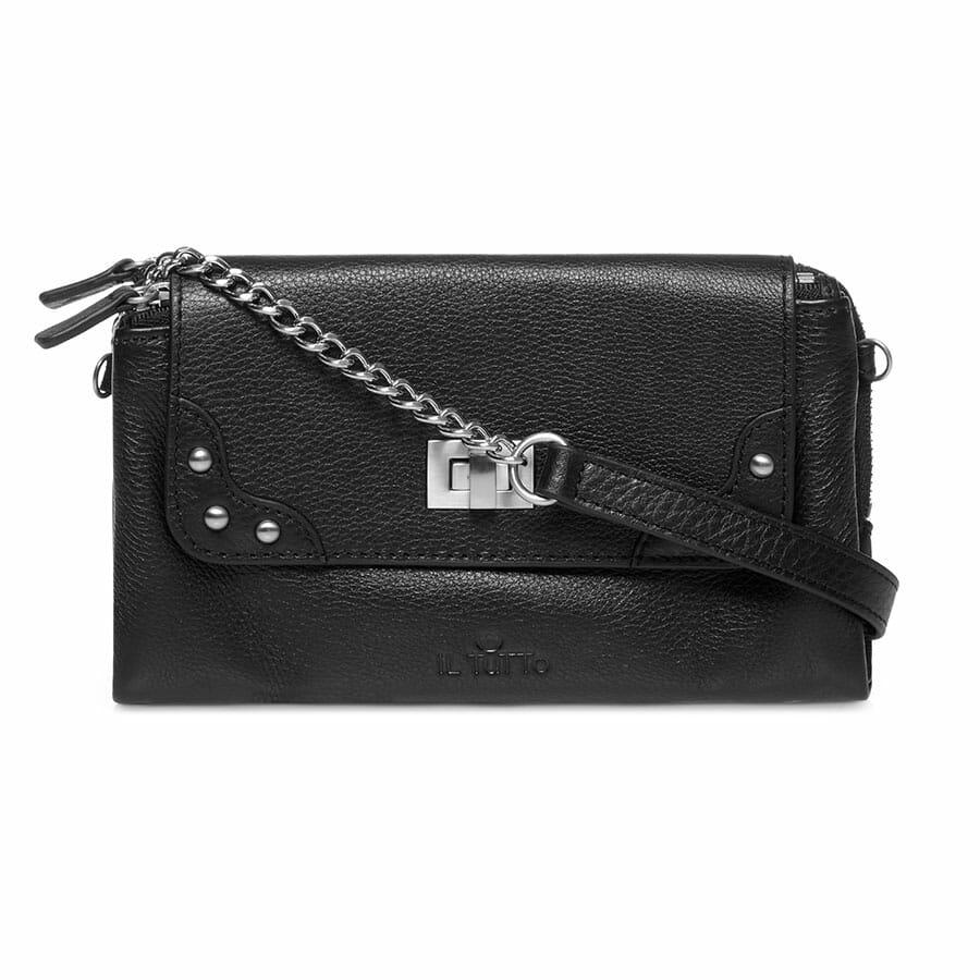 Il Tutto Lexi Leather Mini Bag BLACK FRONT WITH STRAP