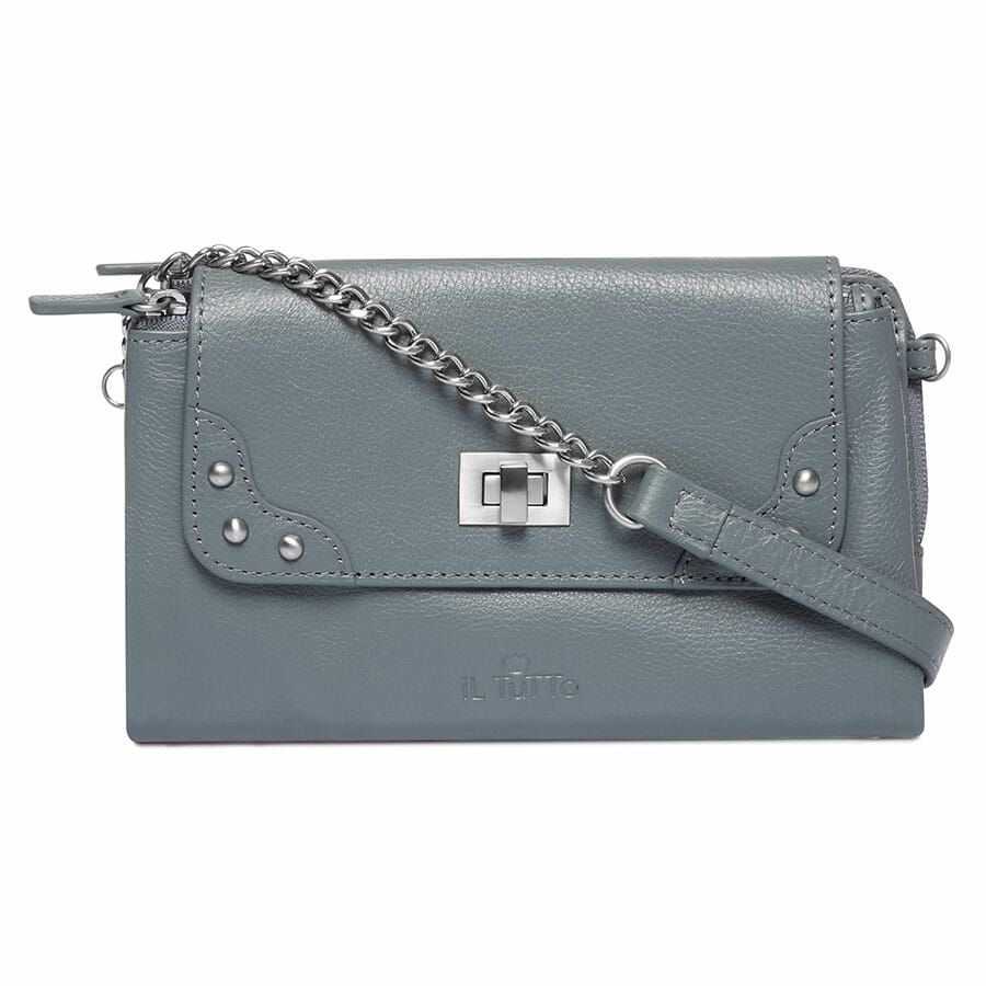 Il Tutto Lexi Leather Mini Bag SLATE FRONT WITH STRAP