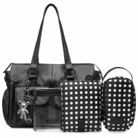 Il Tutto Mia Leather Tote Baby Bag Black front with acc