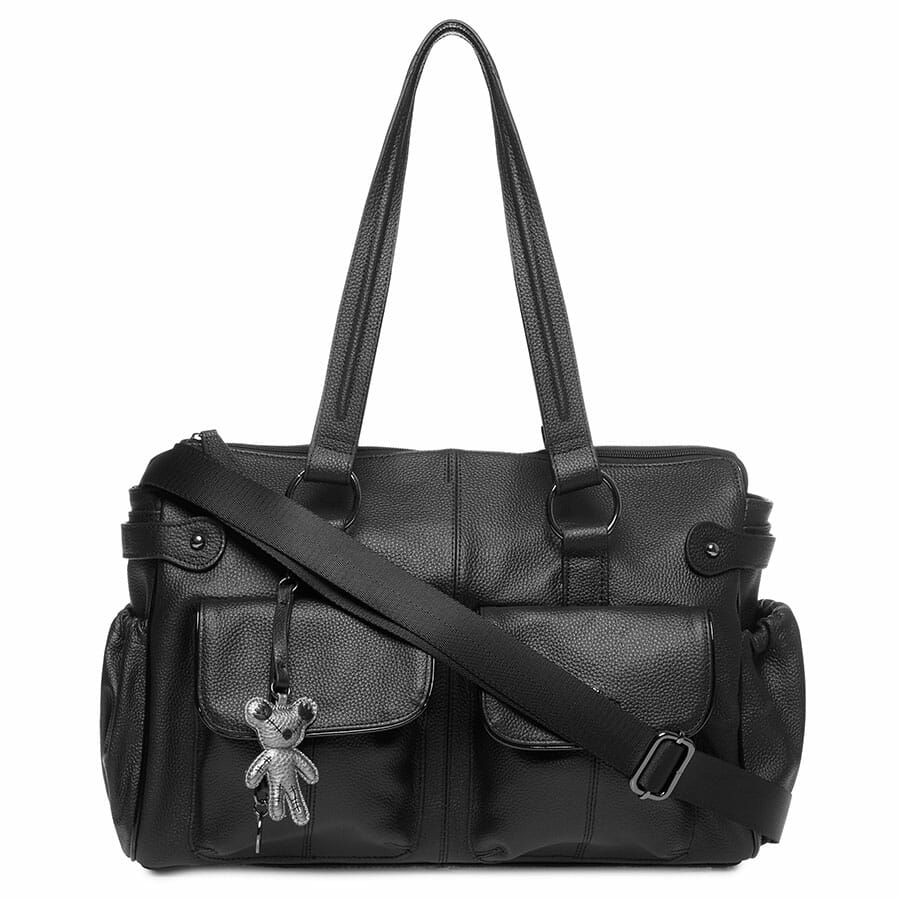 Il Tutto Mia Leather Tote Baby Bag Black front with strap