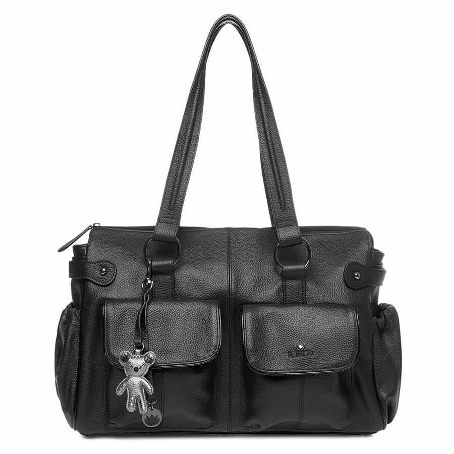 Il Tutto Mia Leather Tote Baby Bag Black front