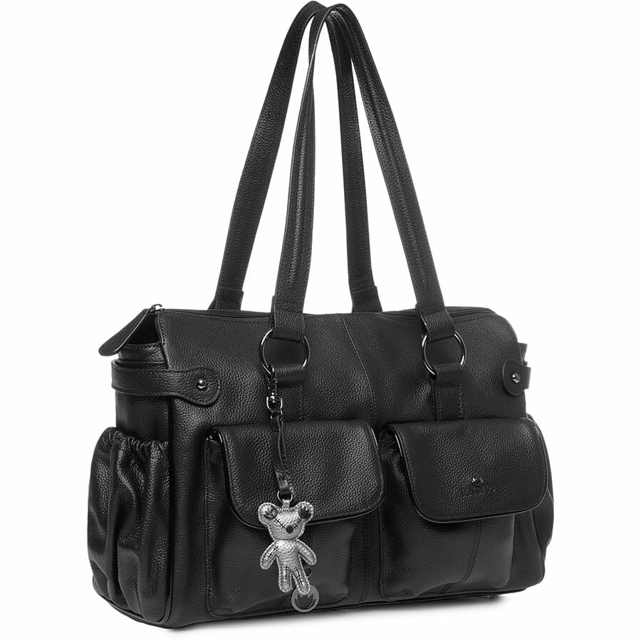 Il Tutto Mia Leather Tote Baby Bag Black side