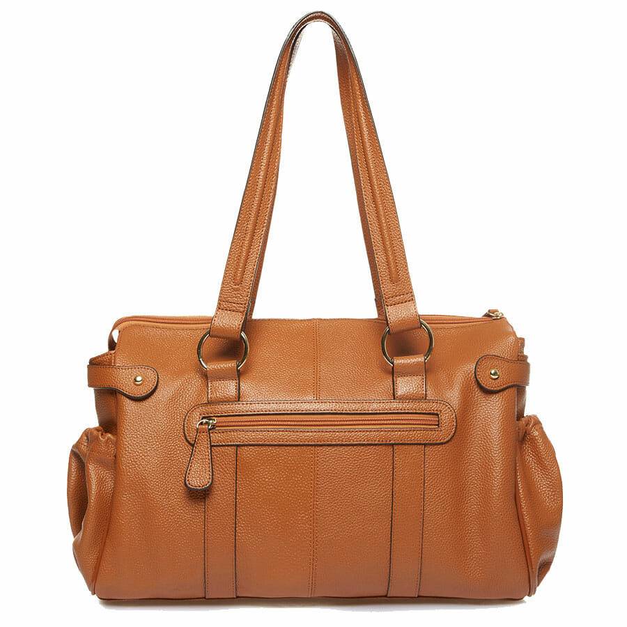 Il Tutto Mia Leather Tote Baby Bag Tan back